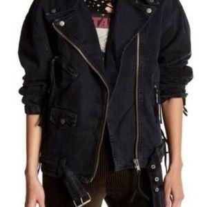 Free People Moto Distressed Black Jean Jacket